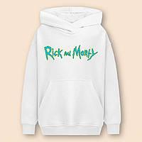 Худи для детей Rick and Morty белая толстовка с принтом на спине