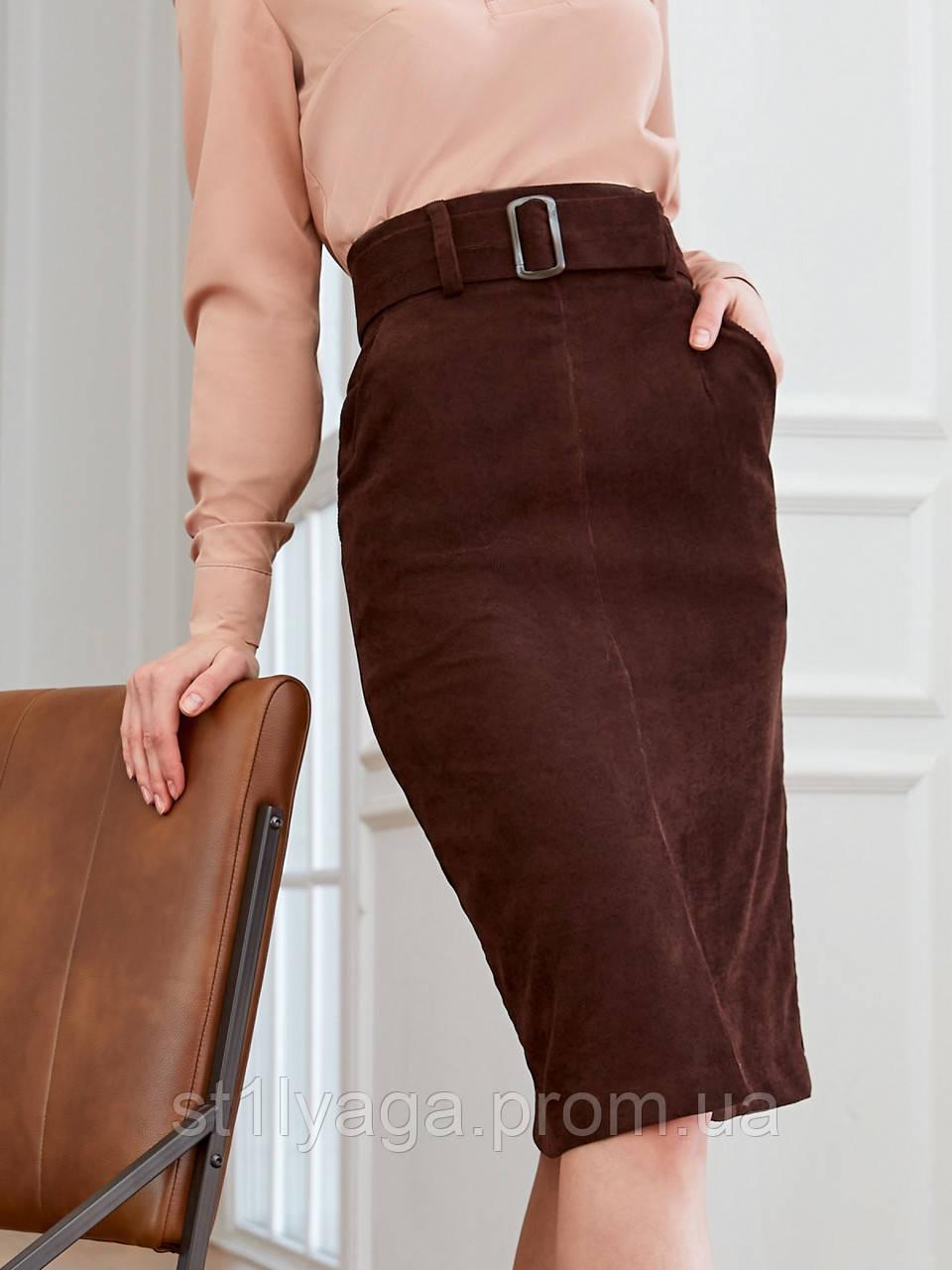 Вельветовая юбка длиной миди с разрезом спереди