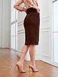 Вельветовая юбка длиной миди с разрезом спереди, фото 3