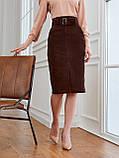 Вельветовая юбка длиной миди с разрезом спереди, фото 2