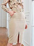 Вельветовая юбка длиной миди с разрезом спереди, фото 4