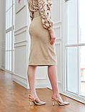 Вельветовая юбка длиной миди с разрезом спереди, фото 6