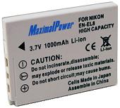 Аналог Nikon En-El8 (MaximalPower 1000mAh). Аккумулятор для Nikon Coolpix P1-P2, S1-S9, S50-S52, фото 1