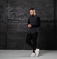 Мужской КОМПЛЕКТ Asos черная полосатая хлопковая рубашка и брюки черного цвета (черные) весна лето Турция
