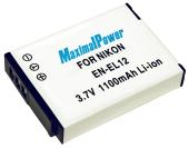 Аналог Nikon En-El12 (MaximalPower 1100mAh). Акумулятор для Nikon Coolpix S610-S640, S710, S800c, S6000-S6300, S1000pj-S1200pj, S8000-S8200 та ін., фото 1