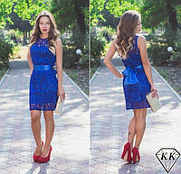 Красивое гипюровое синее платье. Арт-3250/23