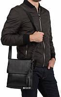Мужская кожаная сумка-мессенджер через плечо Tiding Bag A25-1288A Черная, фото 2