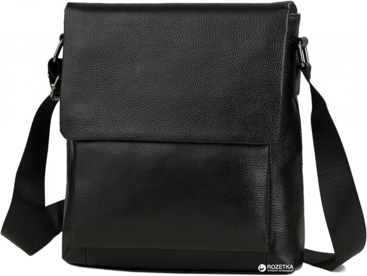 Мужская кожаная сумка-мессенджер через плечо Tiding Bag A25-1288A Черная