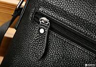 Мужская кожаная сумка-мессенджер через плечо Tiding Bag A25-1288A Черная, фото 5