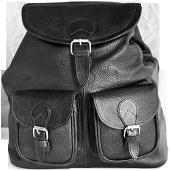Рюкзак кожаный, городской [Черный]