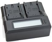 Зарядний пристрій для двох батарей Panasonic з LCD-дисплеєм для акумуляторів VW-VBN130, VBN260; CGR-D16, D28, D220, D320; CGA-D54, D54S, фото 1
