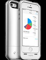Акумуляторний чохол з додатковою пам'яттю Mophie Space Pack для iPhone 5/5S на 1700mAh [16 Гб, Білий], фото 1