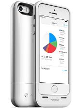 Аккумуляторный чехол с дополнительной памятью Mophie Space Pack для iPhone 5/5S на 1700mAh [64 Гб, Белый]