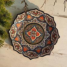 Узбекская тарелка точечная техника d 26 см. Риштан (1)