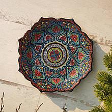 Узбекская тарелка точечная техника d 26 см. Риштан (3)