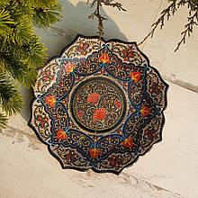 Узбекская тарелка точечная техника d 26 см. Риштан (4)