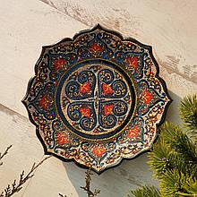 Узбекская тарелка точечная техника d 26 см. Риштан (6)
