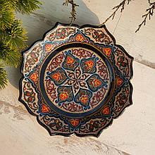 Узбекская тарелка точечная техника d 26 см. Риштан (9)