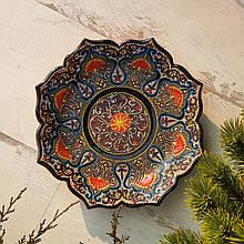 Узбекская тарелка точечная техника d 26 см. Риштан (10)