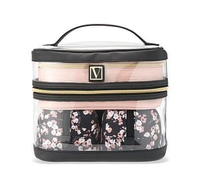 Набір Косметичок Victoria's Secret Train Case, 4 в 1 Рожева з чорним
