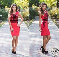 Красивое красное летнее платье с черным орнаментом. Арт-3255/23