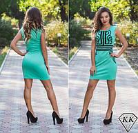 Красивое бирюзовое летнее платье с черным орнаментом. Арт-3255/23