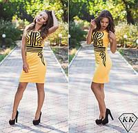 Красивое желтое летнее платье с черным орнаментом. Арт-3255/23