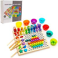 Деревянная игрушка сортер Монтессори мозаика, цифры, фигурки, рыбалка Fun Toys MD 2514/2698