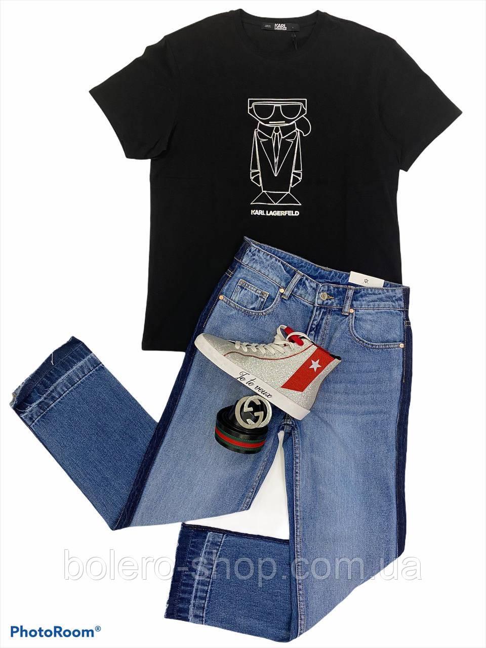 Женская бредовая футболка Karl Lagerfeld, черная, принт серебро, оригинал