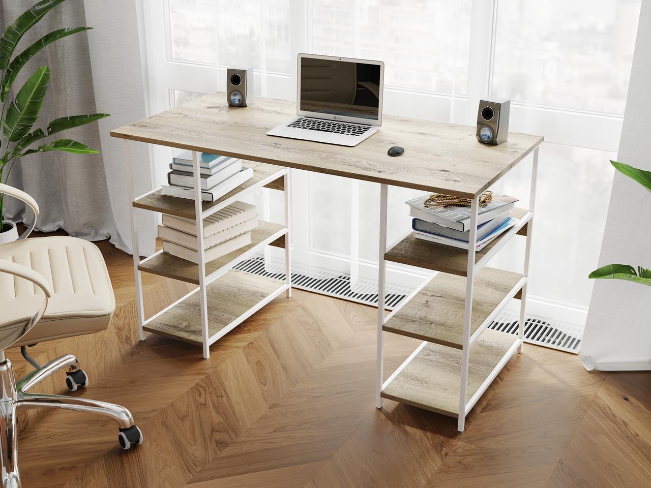 Комп'ютерний стіл лофтовый з полицями по боках з ДСП Код: VZ-21