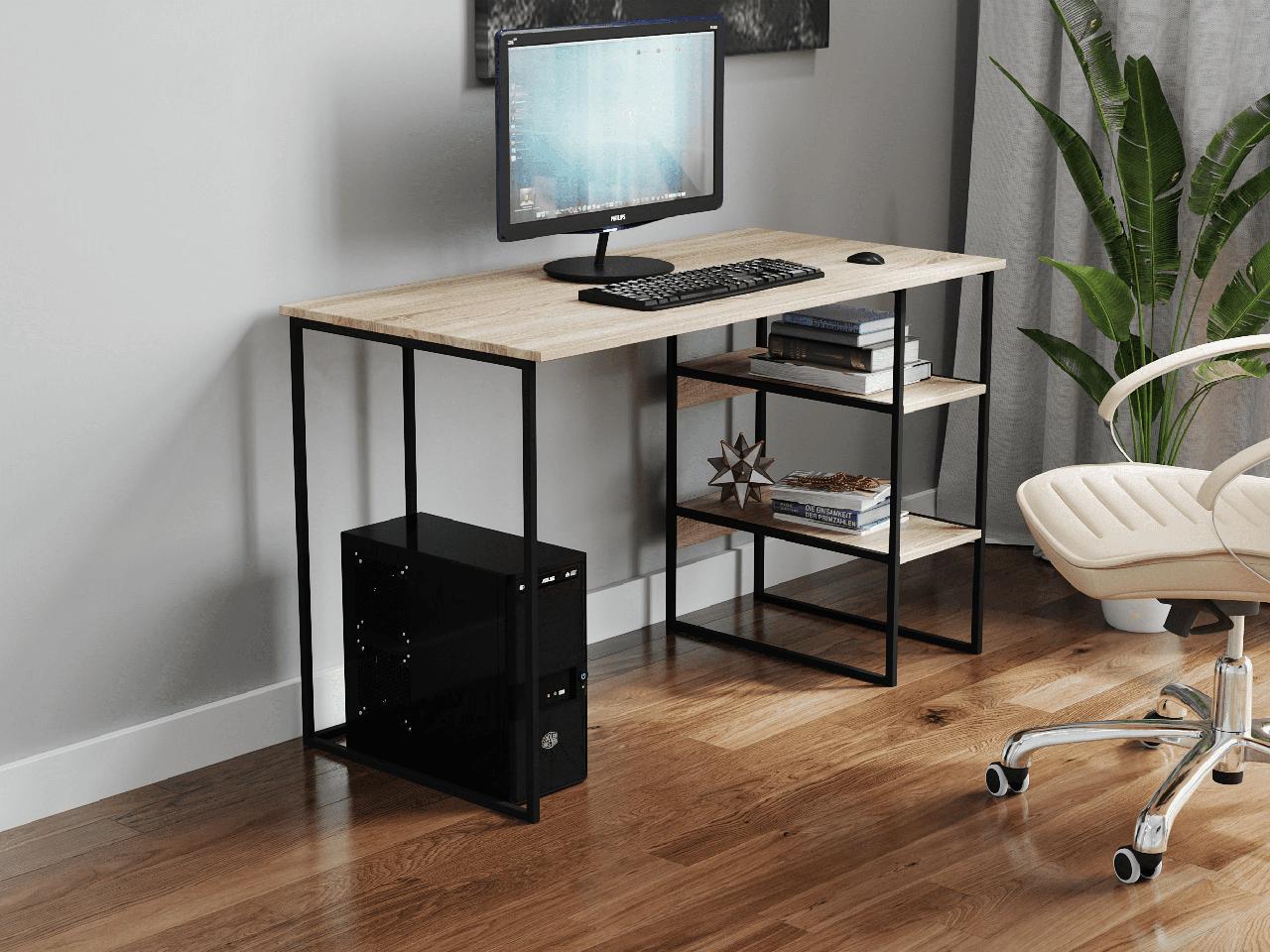 Компьютерный стол на металлических ножках с 2 полками сбоку из ДСП Код: VZ-22