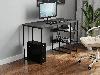 Компьютерный стол на металлических ножках с 2 полками сбоку из ДСП Код: VZ-22, фото 2