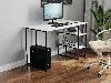 Компьютерный стол на металлических ножках с 2 полками сбоку из ДСП Код: VZ-22, фото 3
