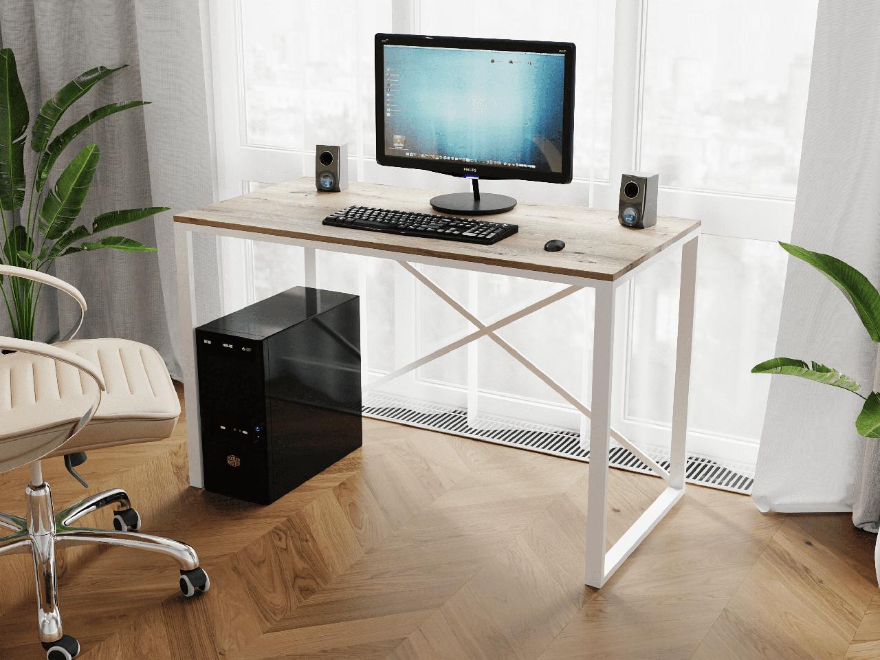 Компьютерный стол лофтовый на двух металлических ножками из ДСП Код: VZ-23