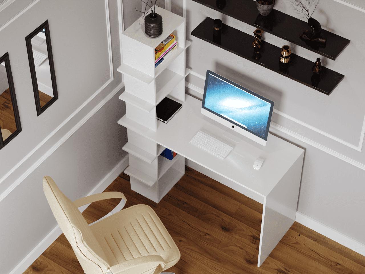 Компьютерный стол со стеллажом на 6 полок сбоку из ДСП Код: VZ-5