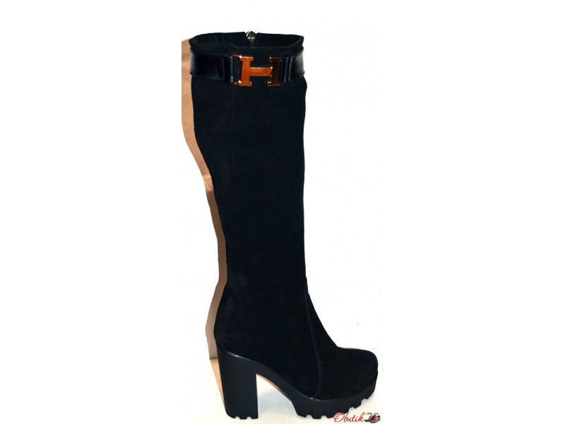 b0e368b14 Сапоги-ботфорты стильные Hermes женские зимние на толстом каблуке  тракторная подошва замша Uk0135 - Обутик