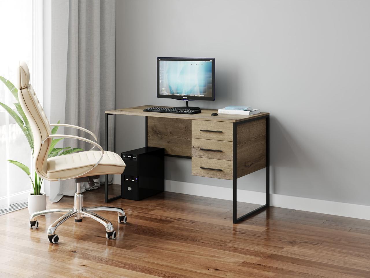 Компьютерный стол лофтовый c 3 ящиками из ДСП Код: VZ-33