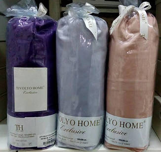 Простыня на резинке с наволочками сатин TIVOLYO HOME бирюзовый, 160*220, фото 2