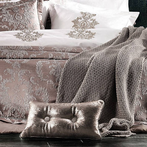 Постільний комплект з покривалом Zebra Casa Meghan bej євро - 4 наволочки, 260*270, фото 2