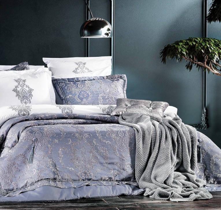 Постільний комплект з покрываломZebra Casa Meghan indigo євро - 4 наволочки, 260*270