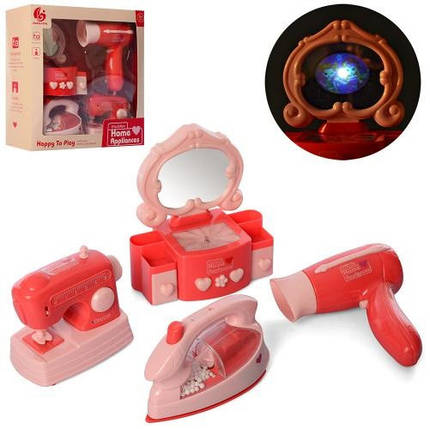 KMRD-504 Набір побутової техніки швейна машинка, фен, трюмо, праска, музика світло коробка 26-26-9 см, фото 2