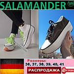 Женские кеды Salamander на высокой платформе. Слипоны на подошве