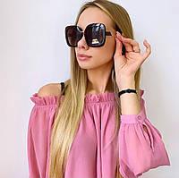 Женские квадратные коричневые солнцезащитные очки, фото 1