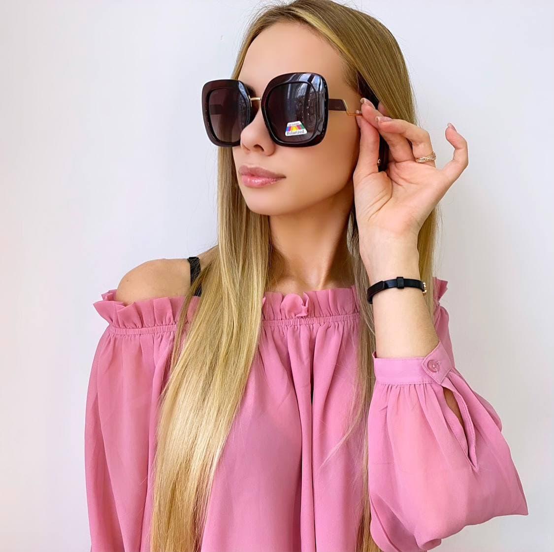 Женские квадратные коричневые солнцезащитные очки