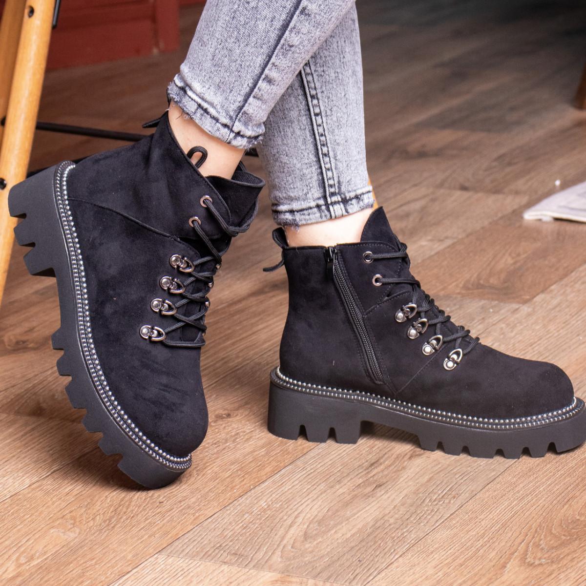Ботинки женские Fashion Tie 2449 36 размер 22,5 см Черный