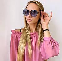 Женские  солнцезащитные очки с темной металлической оправой, фото 1
