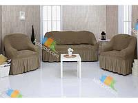 Чехлы на Диван и 2 Кресла с Оборкой Универсальный Размер Набор 220, фото 1