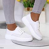 Модні повсякденні білі жіночі кросівки натуральна шкіра з перфорацією, фото 2