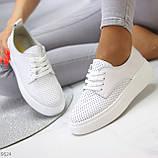 Модні повсякденні білі жіночі кросівки натуральна шкіра з перфорацією, фото 3