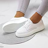 Модні повсякденні білі жіночі кросівки натуральна шкіра з перфорацією, фото 4